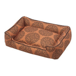 Jax & Bones - Jax & Bones Cotton Blends Lounge Bed Milan Orange Small - The Jax and Bones cotton blends lounge bed is perfect for your dog for lazing around, snuggling, curling into, and leaning against. The warmth and extra reassurance this bed provides lets your dog remain comfortable and happy. With extremely unique range of designs, these beds are easy to maintain and made from the highest quality material especially considering we use an eco-friendly fiber called Sustainafill.  A diverse selection of heavy weight fabrics that are machine washable and luxurious to the touch. Most of these fabrics carry a texture that will create a uber luxurious upholstery feeling dog bed. Great for medium to high traffic use and homes that want a more unique design. Machine washable, low heat tumble recommended! 100% Machine Washable and filled with Sustainafill, an eco-friendly fiber.