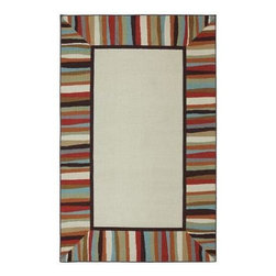 Mohawk - Outdoor Area Rug: Patio Border 8' x 10' Printed Patio - Shop for Flooring at The Home Depot. A multi colored striped border is the focal point of this design. Use this rug as a great way to define your outdoor patio. These rugs are made from synthetic fibers that resist staining, fading, mold and mildew. Our outdoor rugs are made from nylon that resists staining, fading and mold/mildew. Our unique marine backing application on our nylon outdoor rugs allows the water to pass through the rug instead of absorbing it, much like the carpet you find on boats. Printed on the same machines that manufacture one of the world s leading brands of printed carpet, this rug is extremely durable and vibrant. This technology allows the use of multiple colors to create a rug that is wonderfully designed and applicable to any room in your home. Crafted completely in the USA, this rug is made from durable stain resistant nylon.