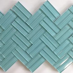 """Modwalls Lush 1""""x 4"""" Pool - Modwalls Lush 1""""x 4"""" in color Pool.  We laid these out in a fun, herringbone pattern for added interest.  Photo by modwalls."""