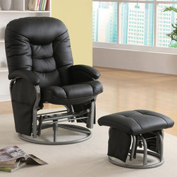 Coaster - Black Casual Glider - Padded seating and smooth gliding mechanism, covered in durable black leatherette cushion, included ottoman.