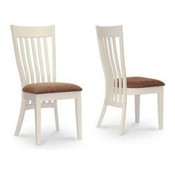 Baxton Studio - Baxton Studio Shippen White and Brown Modern Dining Chair Set of 2 - Classic white taken to a new level, the Shippen Designer Dining Chair will turn heads. One chair, made with a white lacquer bentwood frame and solid rubber wood legs, is included with purchase. The Shippen Chair is finished with a brown twill fabric seat and polyurethane foam cushion. Made in Malaysia, the Shippen Modern Dining Chair requires assembly. To clean, wipe the wooden surfaces with a dry cloth and spot clean the chair cushion. The Shippen Chair is also offered as part of a 7-piece dining set (sold separately).