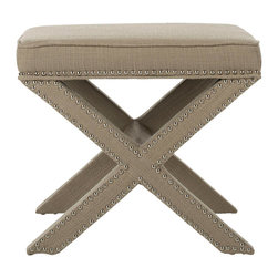 """Safavieh - Palmer Biscuit Beige Ottoman - The Palmer ottoman redefines classic x-bench form with sleek and contemporary elements. A criss-cross base and nickel nailhead trim offer the beige upholstered seat bold visual interest. 21.5""""W x 21.5""""D x 19""""H; Biscuit beige upholstery; Nickel nailhead trim; Birchwood frame; Cotton/polyester blend upholstery; Spot clean"""