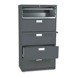 HON - HON 600 Series 36 Inch Four Drawer Lateral File and One Roll Out Shelf - HON685L - Shop for File and Storage Cabinets from Hayneedle.com! The HON 600 Series 36-Inch Four-Drawer Lateral File Plus One Roll-Out Shelf is just what you need to keep important files organized and safe. This tall wide file cabinet has one shelf that rolls out for easy access and is concealed by a roll-up front. Four generously sized file drawers hold letter or legal folders.A lock at the top of the cabinet keeps your files secure and the lock controls all openings. The mechanical interlock feature allows only one shelf or drawer to open at a time to prevent the file cabinet from tipping. Designed for intense daily use this file cabinet has a three-part telescoping slide suspension and leveling glides are adjustable for uneven floors. It is available in your choice of putty black light gray or light charcoal finish. Delivered fully assembled. Dimensions: 36W x 19.25D x 67H inches.About the HON CompanyHeadquartered in Muscatine Iowa the HON Company is established as a leader in the office furniture industry. The HON Company designs and manufactures products including chairs files panel systems tables and desks. With several national manufacturing facilities the company provides products through a system of dealers and retailers throughout the United States.As the landscape of today's office and classroom continues to change with new technologies the HON Company has created office furniture teacher stations and student desks that anticipate and adapt to the newest waves of high-tech products. Additionally in an effort to think and act green the HON Company uses less packing material reduces their amount of fabric waste and uses recycled wood from other furniture.
