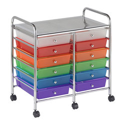 Ecr4kids - Ecr4Kids 12 Drawer Mobile Organizer - Assorted Color - A Mobile Organizer with tubular, chrome-plated steel frame and 12 drawers - perfect for sorting by the months of the yearThis practical organizer can hold just about everything from art and crafts projects to office supplies or even hand tools With its 12 drawers, its perfect for the home or office to sort by the months of the year.  Polypropylene drawers easily slide in and out on the chrome plated steel frame rails.  This double-wide, multi-purpose organizer glides effortlessly under most tables or desks on 6-swivel casters (2-locking).  Also available in Assorted (AS) and White (WH) colors.