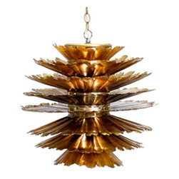 WAdot - Worlds Away Dante Gold leafed Pendant - A startled gold-leafed pine cone hangs beautifully from your ceiling, offering a striking source of light from above. A midcentury modern chandelier with a lot of attitude, this sculptural pendant lamp is an unusual addition to your lighting scheme.