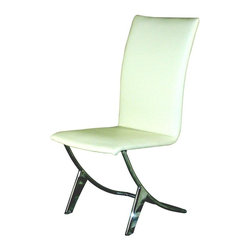 """Zuo Modern - Delfin Contemporary Chairs in White - Set of - Add seating to your office or waiting room with these sleek dolphin chairs.  Available in three versatile colors, black, white, or brown, you can find a color to match your existing decor, or build your redecorating around your choice!  These trendy chairs are modern and comfortable, which makes the perfect combination.  With unique style and comfort, this chair will make a statement and back it up with substance.  The chrome frame and ergonomically sound seat make this one a great choice in home design. * Arched back for extra back support. Faux leather upholstered seat - easy to wash. Chrome finish base. Assembly required. 26""""D x 17""""W x 39""""H (Seat Height: 18""""H)With unique style and comfort, this chair will make a statement and back it up with substance. The chrome frame and ergonomically sound seat make this one a great choice in modern home design."""