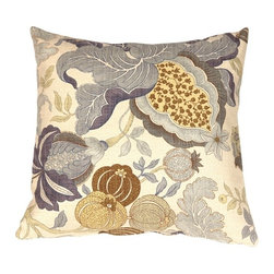 Pillow Decor - Pillow Decor - Harvest Floral Blue 20 x 20 Throw Pillow - You will adore this romantic and colorful floral print pattern. The Harvest Floral Blue Throw Pillow features blooming flowers, leaves and seeds, that sweep across the front and back in soft shades of blue, teal, pistachio Green, buttercup Yellow and ochre. The background of the pillow is cream. The fabric is a soft yet sturdy broad weave, made from a high quality cotton, linen, polyester blend. The colors have a wonderful natural faded appearance, and just gazing at it sets your mind at ease. This gorgeous pillow is available in three sizes and partners up beautifully with solids and soft stripes.