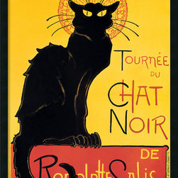 Amanti Art - Tournee du Chat Noir (Yellow) Framed with Gel Coated Finish - Cat people and art nouveau fans alike will swoon over this famous image by French printmaker Théophile Alexandre Steinlen. Framed in the USA and ready for your wall. Meow!