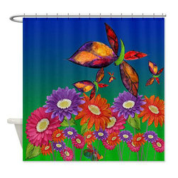 usa - Butterflies And Daisies Shower Curtain - Beautiful shower curtains created from my original art work. Each curtain is made of a thick water resistant polyester fabric. The permanently applied art work appears on the front side with the inside being white. 12 button holes for easy hanging, machine washable and most importantly made in the USA. Shower rod and rings not included. Size is a standard 70''x70''