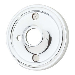 Renovators Supply - Door Knob Roses Chrome Trad Door Knob Rose w/Privacy Pin Hole - b>Privacy Doorknob Roses: Chrome-plated over Solid Brass, Traditional Roses comes as a pair, where one is designed with a hole to accept a privacy pin and the other rose has no privacy hole. Screws included. Sold in pairs. Measures 2 1/2 in. outer diameter and 5/8 in. inner diameter.
