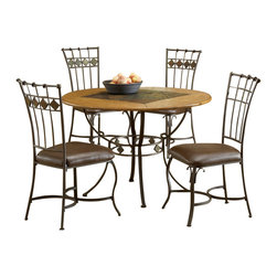 Hillsdale Furniture - Hillsdale Lakeview 5 Piece Round Dining Room Set w/ Slate Side Chairs - Rustic textures and colors combine to create Hillsdale Furniture's Lakeview dining collection. Boasting a striking fusion of medium oak wood, coppery brown metal, and a dynamic slate inlay in the center of the table, this group also features many options to customize your own ensemble, from a wood top chair or baker rack to a slate topped chair or baker rack with a diamond motif and a rectangle rounded edge or round table. Boasting easy to maintain and versatile brown faux leather seats, a pretty scrolled chair, and a rounded table bases with corresponding slate accents. This unusual ensemble also includes a coordinating sideboard or wine bar and matching 360 degree swivel bar and counter stools. Composed of heavy gauge tubular steel, solid wood edges, climate controlled wood composites and veneers, this unique group is a perfect addition to your home.