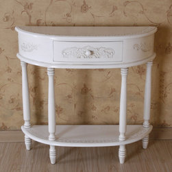 International Caravan - Hand Carved Half Moon Table - Antique style. One drawer. Queen-anne legs. Made from premium China oak hardwood. Antique white distressed finish. Assembly required. 35 in. W x 11 in. D x 31 in. H (29 lbs.)