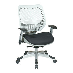 Office Star - Space Seating 86 REVV Series Unique Self Adjusting Ice SpaceFlex Back & Raven Me - Unique Self Adjusting Ice SpaceFlex  Back Managers Chair. Self adjusting SpaceFlex  Backrest Support System with Breathable Raven Mesh Seat, One Touch Pneumatic Seat Height Adjustment, Self Adjusting 4 to 1 Synchro Tilt Control with 3 Position Lock and Anti-Kick Function, Tilt Tension Adjustment, Height Adjustable Platinum Coated Arms with Soft PU Pads, Heavy Duty Platinum Coated Base with Black End Caps and Dual Wheel Carpet Casters.