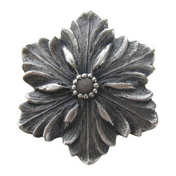 """Notting Hill - Notting Hill Opulent Flower Knob - Antique Pewter - Notting Hill Decorative Hardware creates distinctive, high-end decorative cabinet hardware. Our cabinet knobs and handles are hand-cast of solid fine pewter and bronze with a variety of finishes. Notting Hill's decorative kitchen hardware features classic designs with exceptional detail and craftsmanship. Our collections offer decorative knobs, pulls, bin pulls, hinge plates, cabinet backplates, and appliance pulls. Dimensions: 1-5/8"""" diameter"""