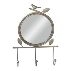 Songbird Mirror - For all the bird lovers out there, this one is perfect for you! Simple yet functional, the bird and leaves details add a bit of fun to the simple, sturdy mirror and hooks.