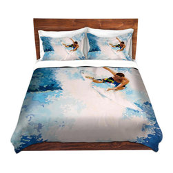 DiaNoche Designs - Duvet Cover Microfiber - Catch the Next Wave Surfing - Super lightweight and extremely soft Premium Microfiber Duvet Cover in sizes Twin, Queen, King.  This duvet is designed to wash upon arrival for maximum softness.   Each duvet starts by looming the fabric and cutting to the size ordered.  The Image is printed and your Duvet Cover is meticulously sewn together with ties in each corner and a hidden zip closure.  All in the USA!!  Poly top with a Cotton Poly underside.  Dye Sublimation printing permanently adheres the ink to the material for long life and durability. Printed top, cream colored bottom, Machine Washable, Product may vary slightly from image.