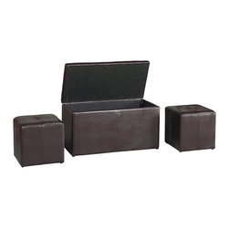Modus Furniture International - Urban Seating Three in One Storage Bench with Two Bonus Ottomans in Chocolate - We created the Urban Seating collection to provide stylish, affordable seating and storage options throughout the home. Great around a table, in a foyer, a game room or a den, chairs are engineered for easy assembly using durable 9 bolt grooved corner block construction and feature web seat cushions for extra comfort. Storage cubes and benches ship fully assembled and feature padded tops, upholstered interiors and built-in wood serving trays. The cubes and benches are a smart accent to any room of the house and are great for storing bed linens, shoes, toys, magazines, gaming accessories and other household clutter. All Urban Seating products are available in a supple leatherette that's durable, stylish and easy to clean.