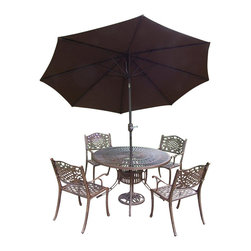 Oakland Living - 7-Pc Cast Aluminum Round Dining Set - Includes sunray table, four chairs, 9 ft. tilt crank umbrella with stand and metal hardware. Traditional lattice pattern and scroll work. Handcast. Hardened powder coat and rust free. Fade, chip and crack resistant. Warranty: One year limited. Antique bronze finish. Minimal assembly required. Table: 48 in. Dia. x 29 in. H. Chair: 22.5 in. W x 22 in. D x 35 in. H (23 lbs.)The Oakland Mississippi collection combines grace style and modern designs giving you a rich addition to any outdoor setting. We recommend that the products be covered to protect them when not in use. To preserve the beauty and finish of the metal products, we recommend applying an epoxy clear coat once a year. However, because of the nature of iron it will eventually rust when exposed to the elements.