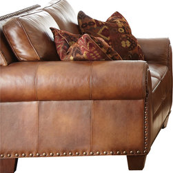Steve Silver Furniture - Steve Silver Silverado Loveseat in Caramel Brown Leather - 100% top grain leather on all seating areas with leather splits on outside back and arms.
