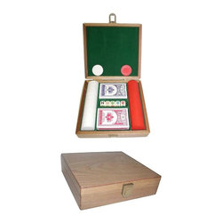 Trademark Poker - 100 Pc Poker Chips Gift Set - Includes 2 Decks of brand new standard playing cards plus 5 Poker dice that are marked with a 9, 10, Jack, Queen, King & Ace. Chip carrying case holds 100 casino chips. Case's hardware is made of solid brass. Oak finish. Inside of the case is lined with Green colored felt. 6 in. L x 12 in. W x 4 in. H (4 lbs.)Playing cards depicted are subject to change without notice. It is at our discretion to replace playing cards with a similar product of equal or higher quality at any time. These 39 mm. Dia. casino sized chips are 8 g. in weight and a great for any gaming arena. This is a very nice case and well worth the money. Very popular as a gift set for groups such as Wedding Parties and Corporate Events!