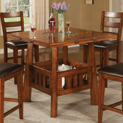 Coaster - Lavista Collection Dark Oak Counter Height Table - Square/round counter height table features built in lazy sussan with 4 drop drop leafs to convert the table from 42 square to 60 round.