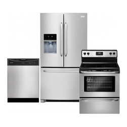 """Frigidaire - FFHB2740PS 36"""" Freestanding French-Door Refrigerator 3-Piece Stainless Steel Kit - Cook entire meals with this freestanding electric range that features an upswept cooktop with an expandable element The oven features a Vari-Broil system and StoreMore storage drawer for cooking convenience"""