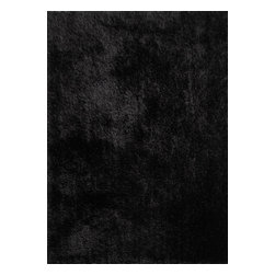Rug - Authentic Solid Black Shaggy Hand-tufted Area Rug, Black, 2 X 3 Ft - SHAGGY VISCOSE SOLID COLLECTION