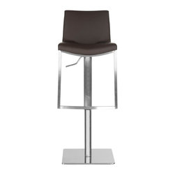 Safavieh - Ember Barstool - Borrowing from the advanced technology of luxury car makers, Safavieh upholsters the Ember barstool with brown perforated PU leather that keeps seats cooler. An adjustable seat height makes this beautiful stainless steel barstool even more comfortable.