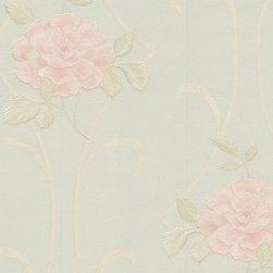 Wallpaper Worldwide - Shangri-la - Floral Wallpaper, Green, Pastels, Pink - Material: Non-woven. PVC.