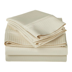 1000 Thread Count Egyptian Cotton Queen Ivory Stripe Sheet Set - 1000 Thread Count Egyptian Cotton oversized Queen Ivory Stripe Sheet Set
