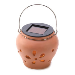 "Koehler Home Decor - Koehler Home Decor Terra Cotta Solar Lamp - Mini terra cotta pot sheds lovely light most anywhere, thanks to its hidden solar light A pretty addition to any garden that's safe to enjoy, even around pets, children and crowds. Weight 0.8 lb. 4.5"" diameter x 4"" high. Terra cotta. One AA 600MAH NI-CD battery included.Weight 0.8 lb. Size:4.5"" diameter x 4"" high."