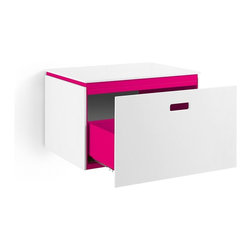 WS Bath Collections - Ciacole Pink Cabinet With Drawer - Ciacole 8060.16 Base Cabinet with One Drawer in PinkPainted Aluminum and White Mattstone, Base Cabinet with One Drawer Designed for Use With a Vessel (Countertop) Bathroom Sink In Pink Painted Aluminum and White Mattstone, Free Standing, Made in Italy