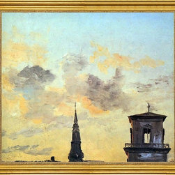 "Johan Christian Claussen Dahl-16""x20"" Framed Canvas - 16"" x 20"" Johan Christian Claussen Dahl Two Belfries at Sunset, Copenhagen framed premium canvas print reproduced to meet museum quality standards. Our museum quality canvas prints are produced using high-precision print technology for a more accurate reproduction printed on high quality canvas with fade-resistant, archival inks. Our progressive business model allows us to offer works of art to you at the best wholesale pricing, significantly less than art gallery prices, affordable to all. This artwork is hand stretched onto wooden stretcher bars, then mounted into our 3"" wide gold finish frame with black panel by one of our expert framers. Our framed canvas print comes with hardware, ready to hang on your wall.  We present a comprehensive collection of exceptional canvas art reproductions by Johan Christian Claussen Dahl."
