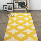 Hand Tufted Carpet - I can't get enough of yellow, and this hand-tufted carpet features the perfect yellow with an oversized Moroccan pattern. Perfection!