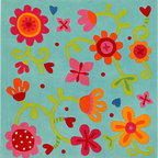 HABA Eliza Area Rug - Add this flowered rug to your child's room for a perfect accent. Pretty flower vines! Material: New Zealand Wool with textile backing. Dimensions: 57 x 57 inches.