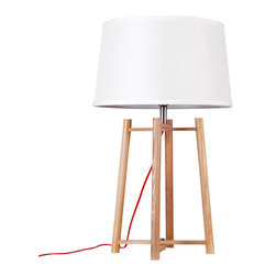 ParrotUncle - Contemporary Table Beside Lamps with Quadripod Stand - The tried-and-true quadripod stands center stage in the design of this table Lamp. This classic base is made with wood and supports a white fabric shade. Powering your lamp is a black/red power cord with On/Off switch, standard American 2-prong polarized plug. You will need a 40W max bulb, which is not included with purchase.
