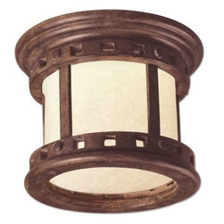Maxim Lighting - Maxim Lighting 85030MOSE Santa Barbara EE 1-Light Outdoor Ceiling Mount - Santa Barbara EE is a traditional, craftsman/mission style, energy saving collection from Maxim Lighting International in Sienna finish with Mocha glass.