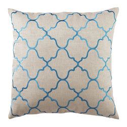 "DL Rhein - DL Rhein Moroccan Tile Turquoise Embroidered Linen Pillow - Clean and modern with an air of Mediterranean mystery, the Moroccan Tile pillow is a fusion of creativity and sophistication. Accent traditional or modern home decor with this DL Rhein design, handcrafted with an embroidered Moorish tile pattern in light turquoise blue. 20"" x 20""; Linen pillow with embroidered detail; Feather down insert included; Dry clean only"