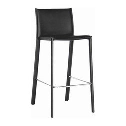Wholesale Interiors - Black Leather Bar Stool - This counter height bar stool with steel frame is sure to make your room more fun and comfortable. Stool constructed with hardwood frame. Durable bonded leather upholstery for longer lasting use and stain resists for easy clean up. Leg constructed with solid rubber wood with veneer finish completes with lightly padded with high density foam for added comfort. If you need a great bar stool that will hold up well to entertaining, then you will fall in love with this bar stool.