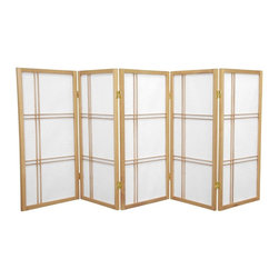 Oriental Furniture - 3 ft. Tall Double Cross Shoji Screen - Natural - 5 Panels - This three foot tall folding screen adapts a traditional Japanese design for the modern home. Shoji rice paper, valued for its beauty and lightweight design, has been used in Japan for over a thousand years to divide space and provide privacy without blocking off light. This room divider elegantly complements any style of interior decor and is a great way to partition a room, hide the space beneath a table or desk, or add cosmopolitan flair to the home or office.