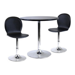 Winsome Wood - Modern 3 Pc Dinette Set w Round Table & 2 Fau - Bring the cool style of a 1960s cafe to your home's decor with this three-piece dining set, a perfect blend of modern and retro design styles. The set includes a round pedestal table with a metal base and two matching swivel chairs with leather upholstered shell seats. Set includes Round Table and 2 Faux Leather Swivel Chairs. Made of faux leather/metal. Black/Metal finish. Some assembly required. Table: 29 in. W x 29 in. L x 30 in. H. Chair: 18 in. W x 16 in. L x 33 in. H