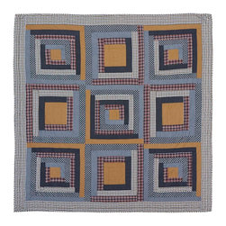 VHC Brands / Ashton & Willow - Westport Quilt, Queen - The Americana inspired quilt is a classic Log Cabin Block quilting pattern of plaids, solids and chambray fabrics in blues, reds and khaki. The back is tan, creme and blue plaid. It has 100% cotton shell and is hand quilted with stitch in the ditch and echo quilting.