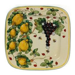 "Ceramic - Tuscan Fruit Square Platter - Tuscan Fruit 11"" Square Platter"