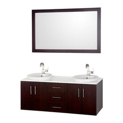 Wyndham Collection - 4 Doors Bathroom Vanity Set - Includes one bathroom vanity, two white Carrera marble sinks and matching mirror. Faucets not included. Three drawers. 8 stage painting and coloring process. White glass top. Modern wall mounted installation. Deep doweled drawers. Fully extending side mount drawer slides. Soft close doors. Concealed door hinges. Pure white glass counter. Single hole faucet mount. Metal hardware. Made from wood, marble and MDF. White, espresso and brushed chrome color. Care Instruction. Vanity: 55 in. W x 21 in. D x 21.5 in. H. Mirror: 52.75 in. W x 33 in. H