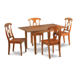 """East West Furniture - Milan 5Pc Set with Dining Table and 4 Napoleon Wood Seat Chairs - Milan 5Pc Set with Rectangular Table Featured 12 In Butterfly Leaf and 4 Wood Seat Chairs; Rectangular dining table is designed in contemporary style with clean angles and sleek lines.; Table and chairs are crafted of fine Asian solid wood for quality and longevity.; Chairs are available with either wooden seats or upholstered seats to suit preference and desired motif.; Table features a standard butterfly leaf for convenient extension.; Ladder back chair style is sturdy, durable, and is ideal for classic decor in any kitchen or dining room.; Dinette sets are available in either rich Mahogany or exquisite Saddle Brown finish.; Weight: 141 lbs; Dimensions: Table: 42 - 54""""L x 36""""W x 29.5""""H; Chair: 18""""L x 18""""W x 38""""H"""