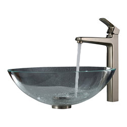 Kraus - Kraus Crystal Clear Glass Vessel Sink and Virtus Faucet Brushed Nickel - *Add a touch of elegance to your bathroom with a glass sink combo from Kraus