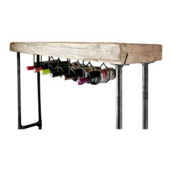 Urban Wood Goods - Modern Industry Wine Table and Rack - Our Modern Industry console table and Wine bar is the perfect entertainment piece for displaying and serving wine, cocktails, and apps. Use it in your kitchen, dining room, or behind a couch. This entertaining table is made of a single slab of century old wood from a deconstructed barn or factory in the Midwestern USA.