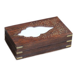 SouvNear - SouvNear Handmade Rosewood Tissue Box Cover with Intricate Decorative Brass Work - * Handmade in solid rosewood - good for a lifetime. Has a hinged top cover and a wood base; essentially a box - not just a cover.
