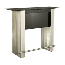 Nova Lighting - Stealth Bar Table - This Stealth brushed aluminum bar table boasts metal frame with black tempered glass top. With 2W LED bulbs, the table top creates an attractive ambience.
