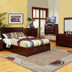 Alpine Furniture - Camarillo 6 PC East King Platform Bed with Storage Footboard - Camarillo 6 PC Eastern King Platform Bed with Storage Footboard